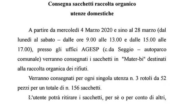 """Distribuzione sacchetti in """"Mater-bi"""" per la raccolta organico"""